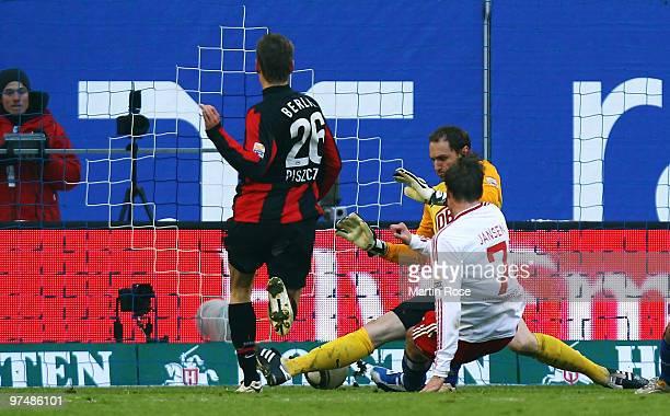 Marcell Jansen of Hamburg scores his team's opening goal during the Bundesliga match between Hamburger SV and Hertha BSC Berlin at HSH Nordbank Arena...
