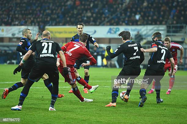 Marcell Jansen of Hamburg scores the seconmd team goal during the Bundesliga match between SC Paderborn 07 and Hamburger SV at Benteler Arena on...