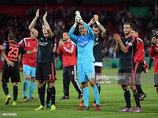Marcell Jansen , Rene Adler , Pierre-Michel Lasogga and Dennis Diekmeier of Hamburger SV celebrates their team's victory during the DFP Cup first...