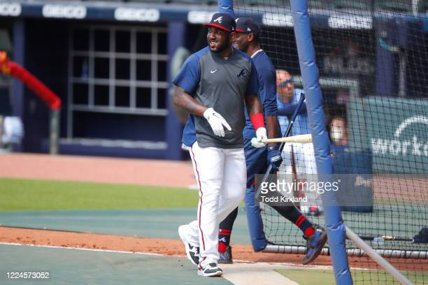 Marcell Ozuna of the Atlanta Braves takes batting practice during the first day of summer workouts at Truist Park on July 3 2020 in Atlanta Georgia