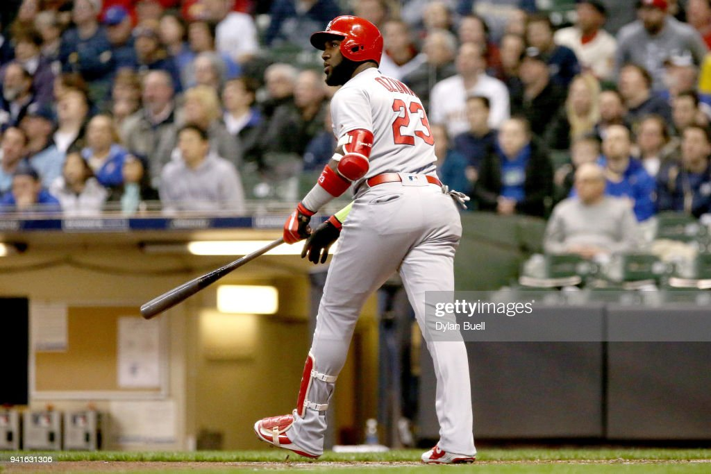 Marcell Ozuna #23 of the St. Louis Cardinals hits a home run in the third inning against the Milwaukee Brewers at Miller Park on April 3, 2018 in Milwaukee, Wisconsin.