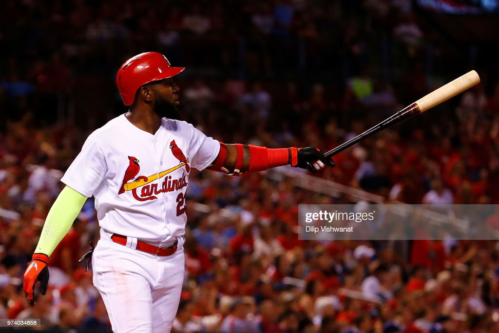 Marcell Ozuna #23 of the St. Louis Cardinals hits a two-run home run against the San Diego Padres in the sixth inning at Busch Stadium on June 13, 2018 in St. Louis, Missouri.