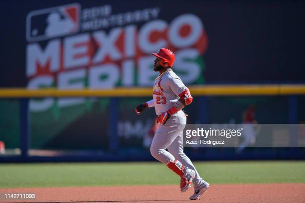 Marcell Ozuna of the St Louis Cardinals runs the bases after hitting a home run on the seventh inning of the second game of the Mexico Series between...