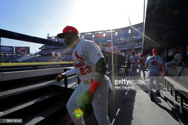 Marcell Ozuna of the St Louis Cardinals takes the field prior to the game between the St Louis Cardinals and the Cincinnati Reds at Estadio de...