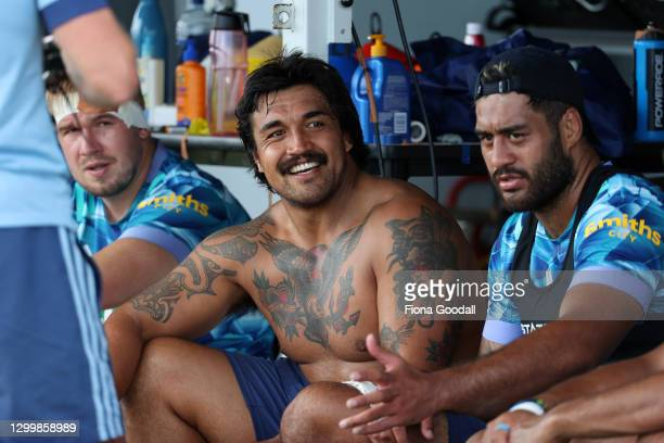 Marcell Renata Josh Goodhue and Akira Ioane take a break during a Blues Super Rugby Aotearoa media opportunity at Blues HQ on February 02, 2021 in...