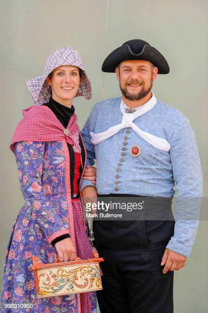 Marcella Langedijk and Bram Eekma of 'Aald Hielpen a traditional Dutch Folk Dancing team both pose for a picture at the 25th Sheringham Potty...