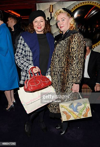 Marcella Martinelli and guest attend the Dior And I UK Premiere after party at Loulou's on March 16 2015 in London England