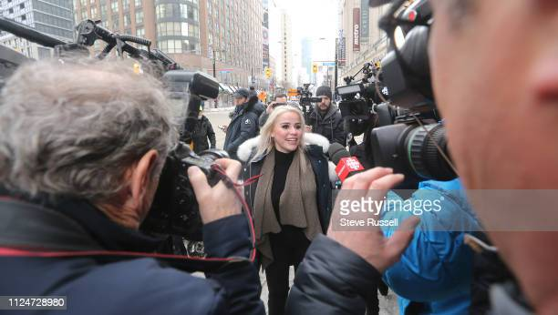 TORONTO ON FEBRUARY 13 Marcella Zoia the alledged chair thrower leaves College Park courts on bail She turned herself into 52 division and is charged...