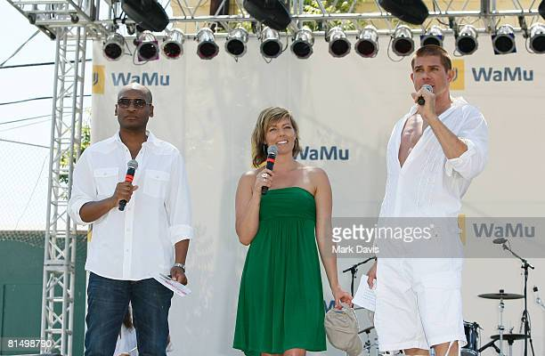 Marcellas Reynolds Ami Cusack and Ben Patrick Johnson at the LGBT Pride festival held on June 8 2008 in Los Angeles California