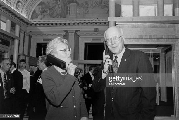 Marcelle Pomerleau and her husband Sen Patrick Leahy DVt listen to audio on the Treasures exhibit April 30 1997