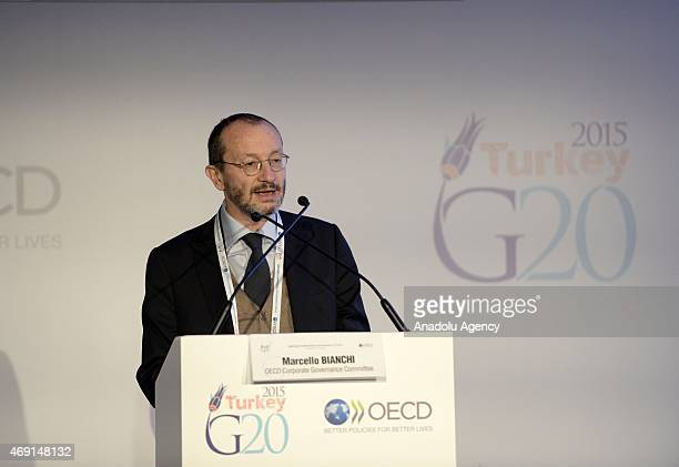 Marcello Bianchi Chairman of the OECD Corporate Governance Committee speaks during the G20/OECD Corporate Governance Forum organized by the Capital...