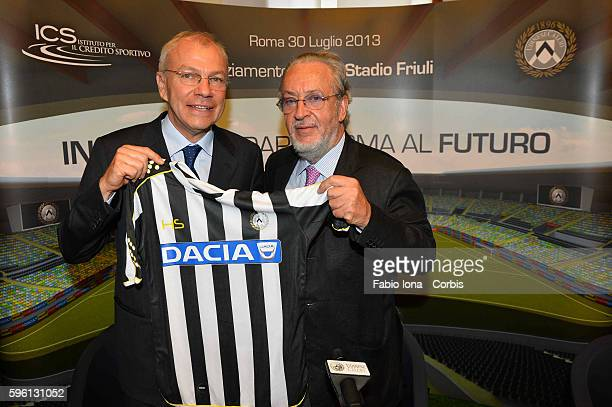 Marcello Clarich and GIampaolo Pozzo President od Udinese during the press conference for the new stadium, Rome on 30 of july 2013