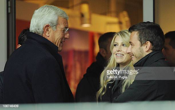 Marcello Lippi Barbara Berlusconi and Giorgio Valaguzza look on in vip stand before during the Serie A match between Milan and Palermo at Stadio...