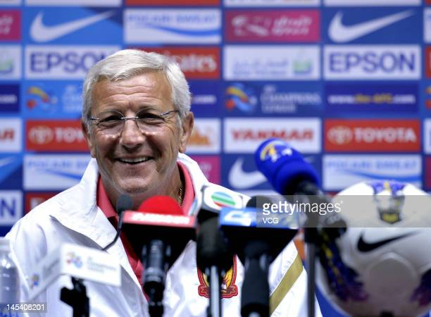 Marcello Lippi Coach of Guangzhou Evergrande attends a press conference before the AFC Champions League match between Guangzhou Evergrande and FC...