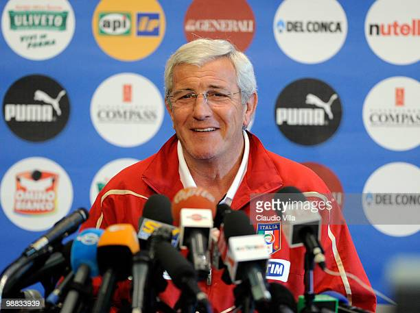 Marcello Lippi during the Press Conference at the La Borghesiana Sport Centre on May 4 2010 in Rome Italy