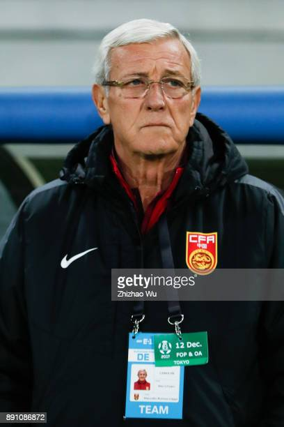 Marcello Lippi head coach of China in action during the EAFF E1 Men's Football Championship between Japan and China at Ajinomoto Stadium on December...
