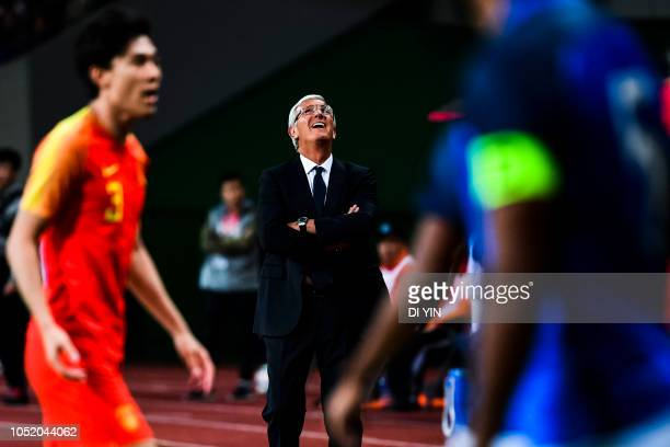 Marcello Lippi head coach of China reacts during the CFA Team China International Football match in Suzhou Olympic Sports Center on October 13 2018...