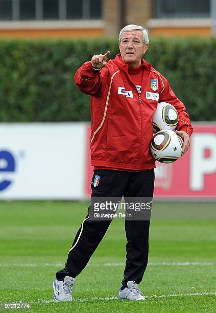 Marcello Lippi head coach of Italy Team during a training session at FIGC Centre at Coverciano on March 1 2010 in Florence Italy