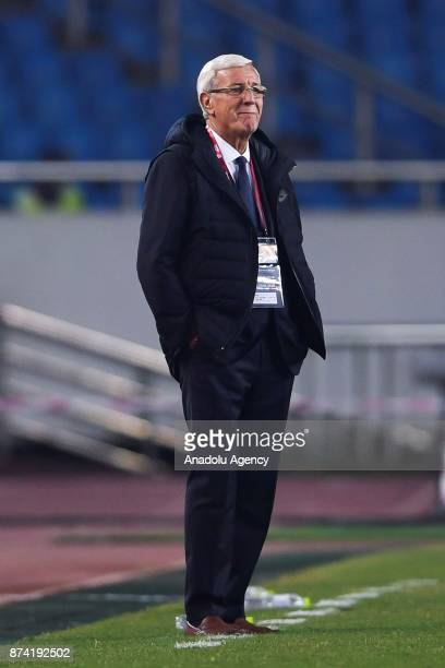 Marcello Lippi the head coach of China reacts during International Friendly Football Match between China and Colombia at the Chongqing Olympic Sports...
