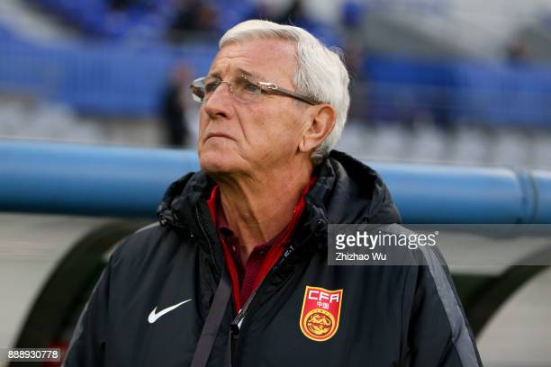 Marcello Lippihead coach of China in action during the EAFF E1 Men's Football Championship between South Korea and China at Ajinomoto Stadium on...