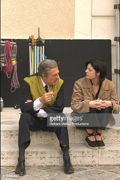 Marcello Mastroianni and daughter Chiara Mastroianni on the set of Raul Ruiz's movie Three Lives and Only One Death also known as Trois vies une...