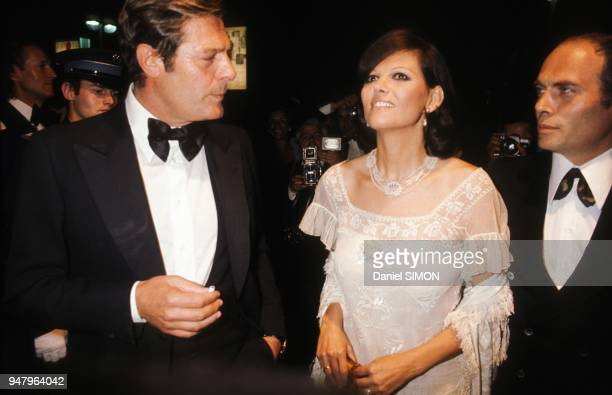 Marcello Mastroianni with Claudia Cardinale and Pasquale Squitieri at Cannes Film Festival in May 1976 in Cannes France