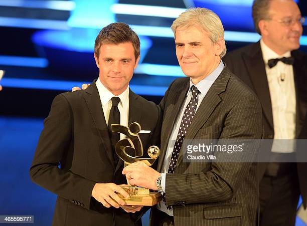 Marcello Nicchi and Nicola Rizzoli attend the Gran Gala del calcio Aic 2013 awards ceremony on January 27 2014 in Milan Italy
