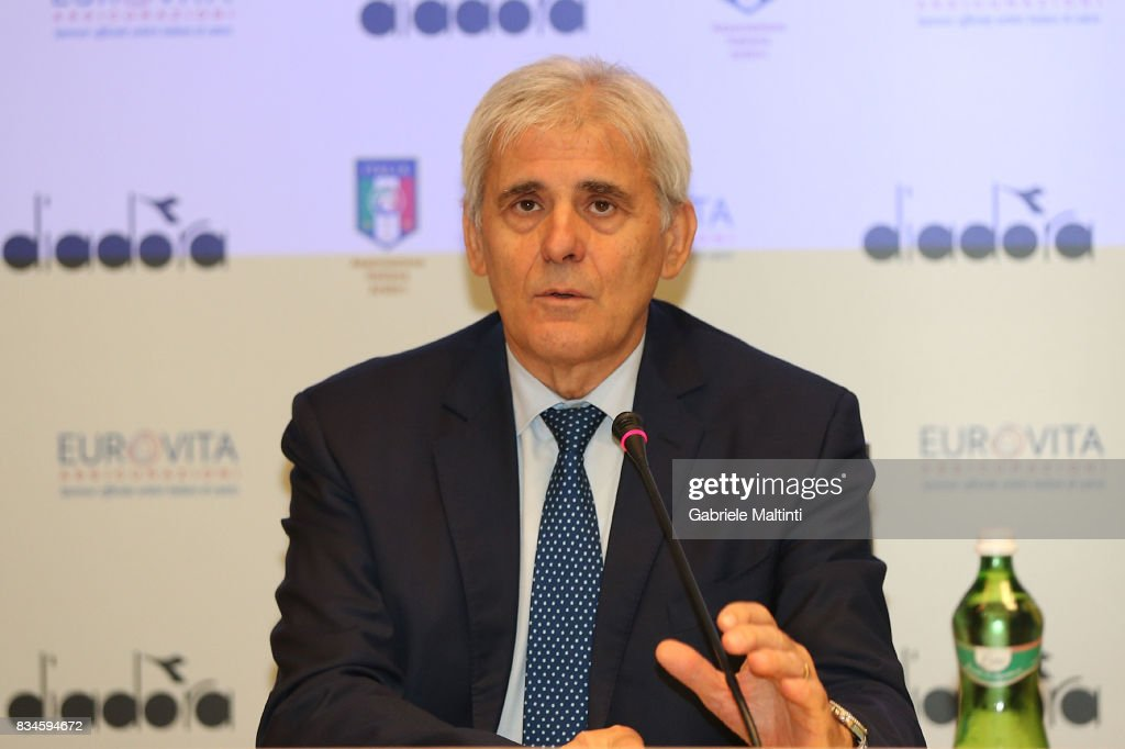 Marcello Nicchi president of AIA (Associazione Italiana Arbitri) during a press conference at Coverciano on August 18, 2017 in Florence, Italy.
