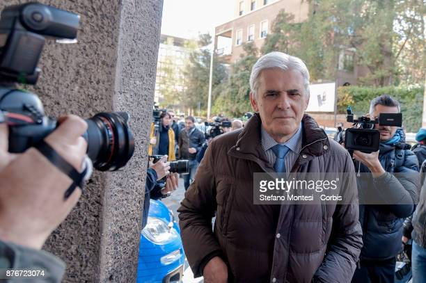 Marcello Nicchi President of the Italian Association of Arbitrators arrives at the headquarters of the Italian Football Federation for the meeting of...