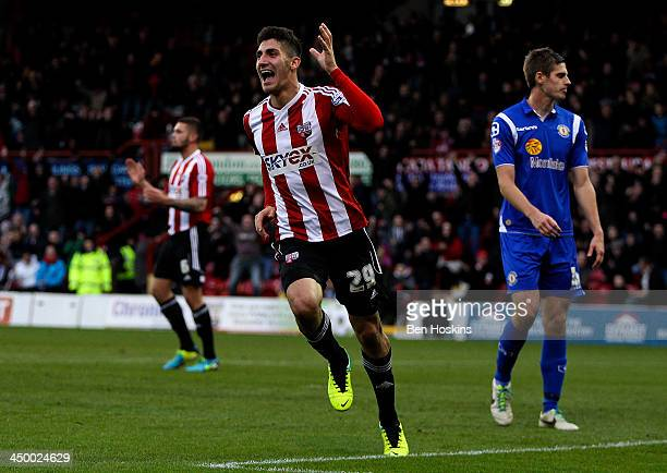 Marcello Trotta of Brentford celebrates after scoring the opening goal of the game during the Sky Bet League One match between Brentford and Crewe...