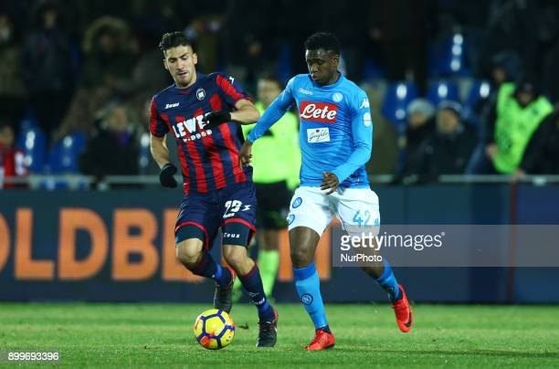 Marcello Trotta of Crotone vies Amadou Diawara of Napoli during the Italian Serie A football match FC Crotone and SSC Napoli on December 29 2017 at...
