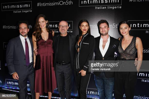 Marcello Veronesi Ana Ivanovic Sandro Veronesi Irina Shayk a guest and Ella Mills attend the Intimissimi Grand Opening on October 18 2017 in New York...