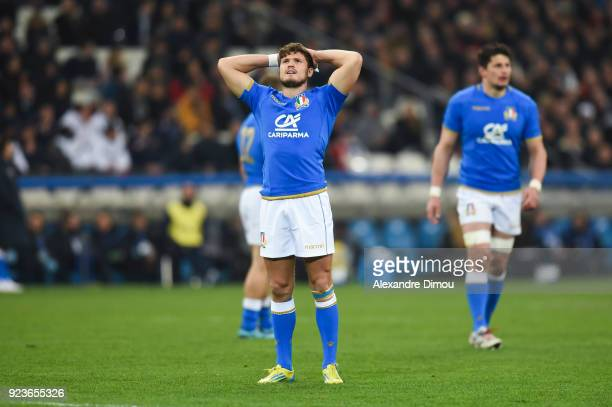 Marcello Violi of Italy looks dejected during the NatWest Six Nations match between France and Italy at Stade Velodrome on February 23 2018 in...