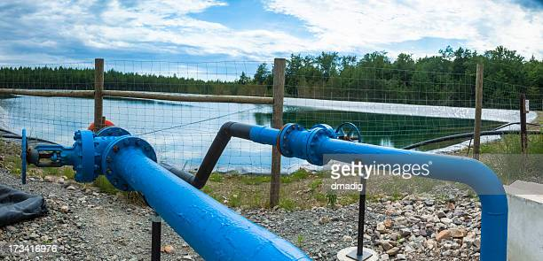 marcellus shale containment pond - fracking stock pictures, royalty-free photos & images