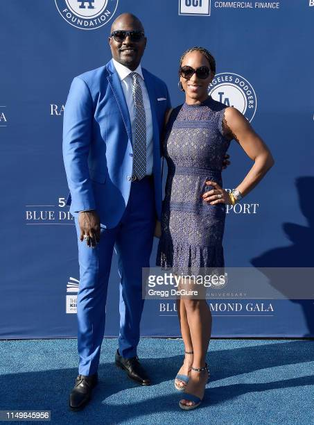 Marcellus Wiley and Annemarie Wiley arrive at the 5th Annual Blue Diamond Foundation at Dodger Stadium on June 12 2019 in Los Angeles California