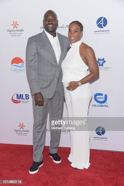 Marcellus Wiley and Annemarie Wiley attend the 18th Annual Harold and Carole Pump Foundation Gala at The Beverly Hilton Hotel on August 10 2018 in...