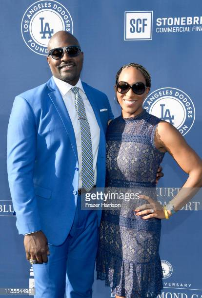Marcellus Wiley and Annemarie Wiley attend the 5th Anniversary Los Angeles Dodgers Foundation Blue Diamond Gala at Dodger Stadium on June 12 2019 in...