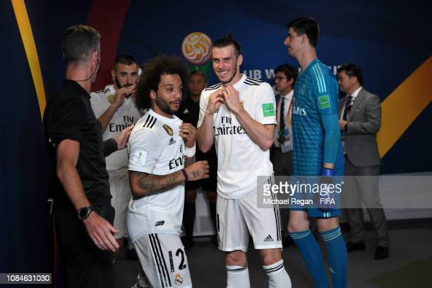 Marcelo and Gareth Bale of Real Madrid in the tunnel during the FIFA Club World Cup semifinal match between Kashima Antlers and Real Madrid at Zayed...