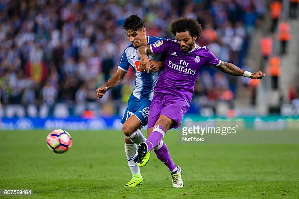 Marcelo and Hernan Perez during the match between RCD Espanyol vs Real Madrid for the round 4 of the Liga Santander played at RCD Espanyol Stadium on...