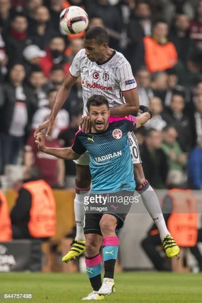 Marcelo Antonio Guedes Filho of Besiktas JK Mohammad Ghadir of Hapoel Beer Shevaduring the UEFA Europa League round of 16 match between Besiktas JK...