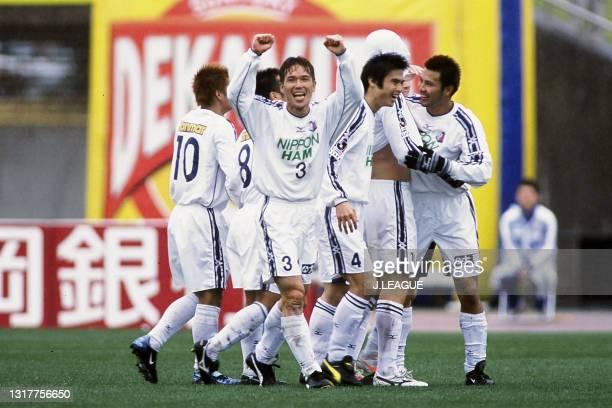 Marcelo Baron Polanczyk of Cerezo Osaka celebrates scoring a goal with his team mates during the J.League J1 first stage match between Shimizu...
