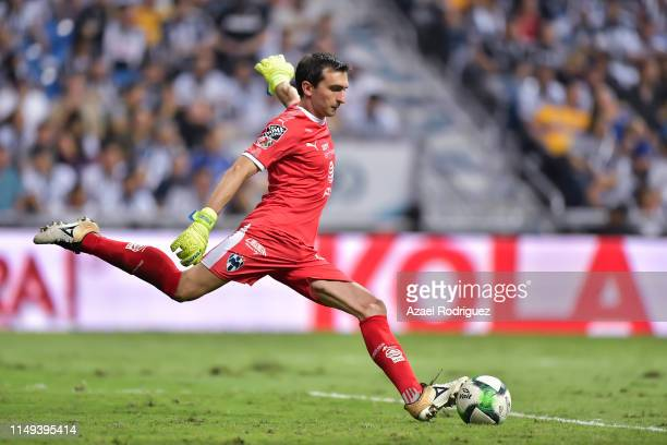 Marcelo Barovero #1 of Monterrey kicks the ball during the semifinals first leg match between Monterrey and Tigres UANL as part of the Torneo...