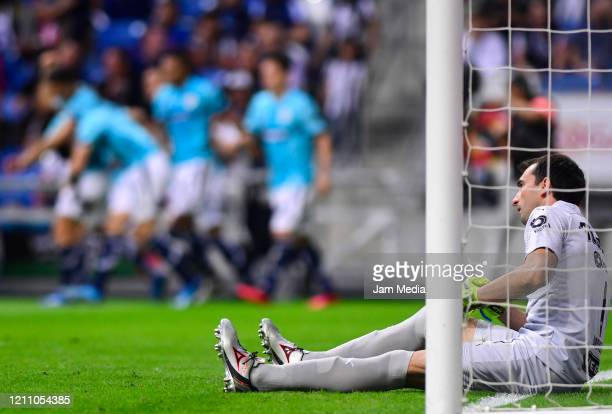 Marcelo Barovero Goalkeeper of Monterrey looks dejected during the 9th round match between Monterrey and Atletico San Luis as part of the Torneo...