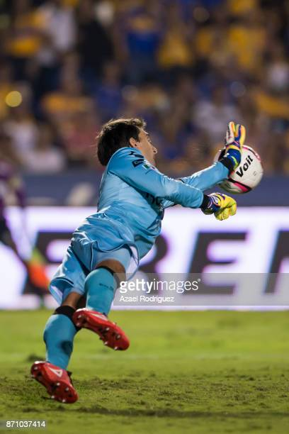 Marcelo Barovero goalkeeper of Necaxa deflects the ball during the 16th round match between Tigres UANL and Necaxa as part of the Torneo Apertura...