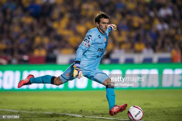 Marcelo Barovero goalkeeper of Necaxa kicks the ball during the 16th round match between Tigres UANL and Necaxa as part of the Torneo Apertura 2017...