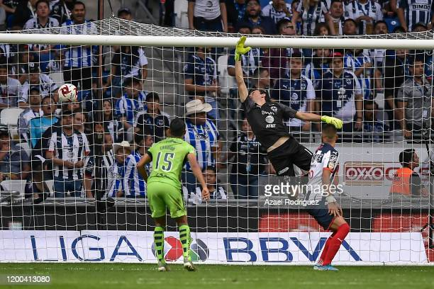 Marcelo Barovero of Monterrey fails to stop a goal by Aldo Rocha of Morelia during the 2nd round match between Monterrey and Morelia as part of the...