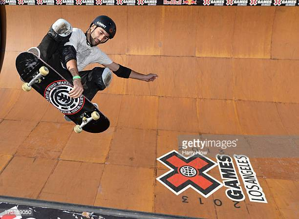 Marcelo Bastos of Brazil practices on the Skateboard Vert during X Games Los Angeles at the Event Deck at LA Live on August 1 2013 in Los Angeles...