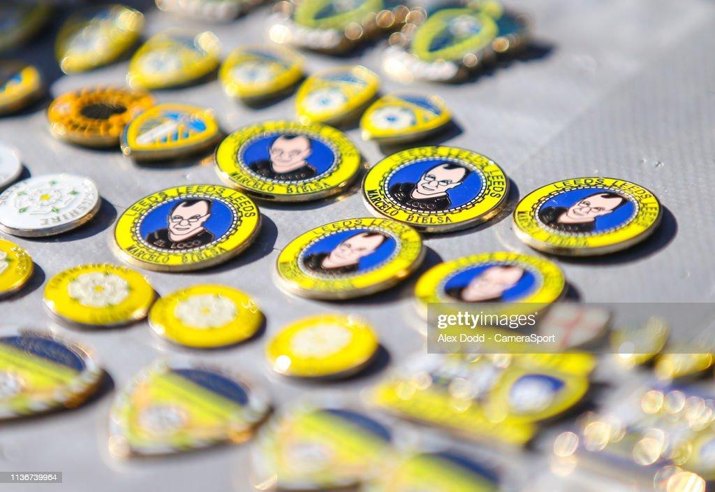 Marcelo Biela badges for sale outside Elland Road during the Sky Bet