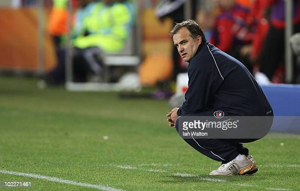 Marcelo Bielsa head coach of Chile looks on during the 2010 FIFA World Cup South Africa Group H match between Chile and Switzerland at Nelson Mandela...
