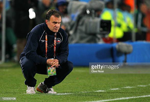 Marcelo Bielsa head coach of Chile looks on during the 2010 FIFA World Cup South Africa Round of Sixteen match between Brazil and Chile at Ellis Park...